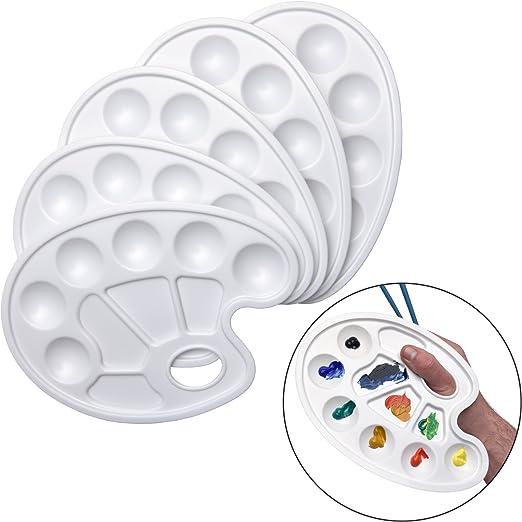 10x Farbmischpalette Farbpalette in weiss aus Kunststoff Mischpalette