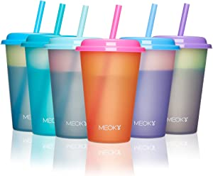 Meoky Color Changing Cups with Lids and Straws for Kids 6Pack 12oz Plastic Reusable Cold Drink Tumblers Summer Party Cups