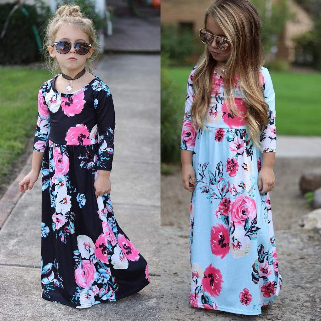 VEZAD Girls Skirt Flower Print Mori Garden Bohemia Dress Backless Casual Sundress Clothes