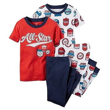 95663ab4b Amazon.com  Carters Baby Boys All Star Sports 4-Piece PJ Set Red 12M ...