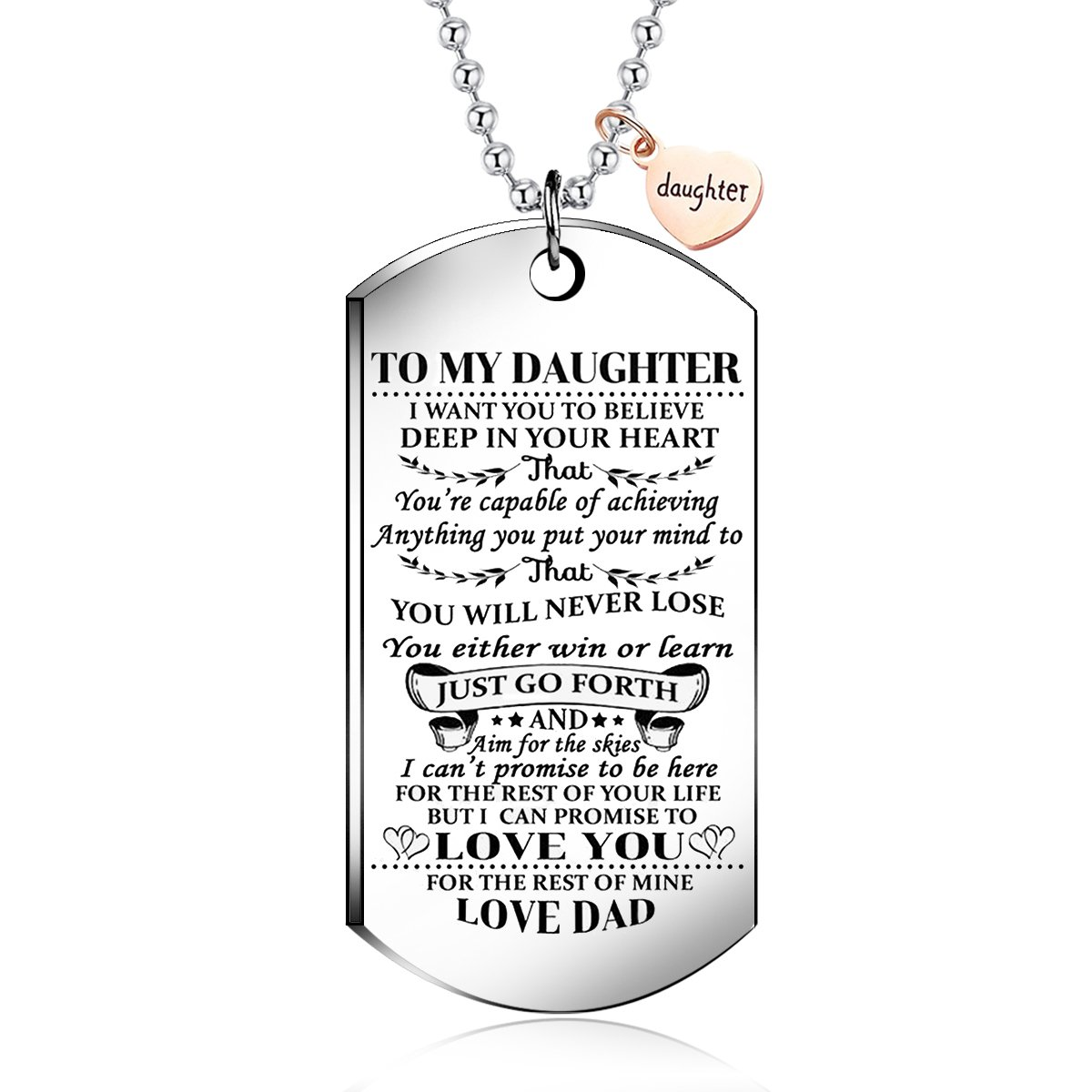 NOVLOVE To My daughter from dad I Want You To Believe Love dad Dog Tag Military Air Force Navy Coast Guard Necklace Ball Chain Gift for Best Son Birthday and Graduation