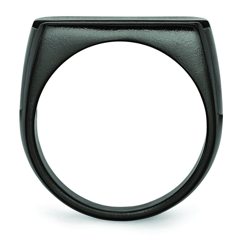 Jewelry Pot Titanium Black Ti Polished Blue Anodized Stripe Ring