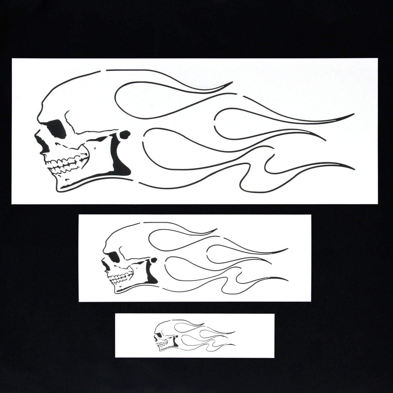 Flame Skull 1 Airbrush Stencil Spray Vision Template