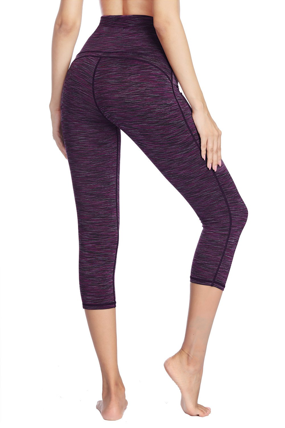 Dragon Fit Compression Yoga Pants Power Stretch Workout Leggings with High Waist Tummy Control (Large, Capri-Purple) by Dragon Fit (Image #4)