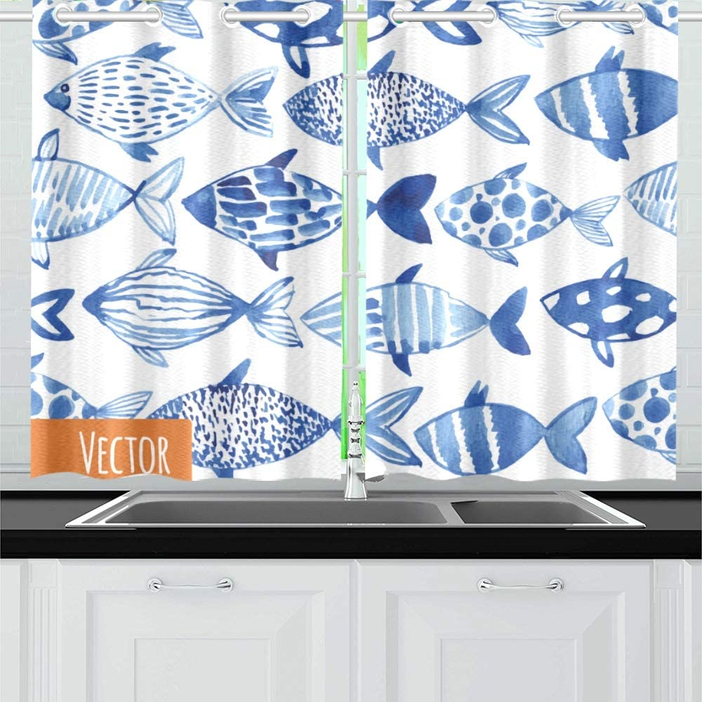 N A Underwater Marine Fish Ocean Kitchen Curtains Window Curtain Tiers For Cafe Bath Laundry Living Room Bedroom 26x39inch 2pieces Amazon Co Uk Kitchen Home
