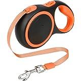 PetSuerte Glam犬用伸縮リード ペット引きひも自動巻き 犬用リード ペット牽引ロープ 体重50㎏まで 長さ5m 調節可能 愛犬散歩用 オレンジ S/M/L (S)