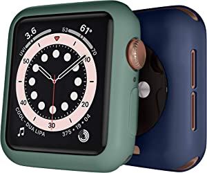 [2 Pack] GEAK 38mm Case Compatible for Apple Watch Series 3, Premium TPU Protective Case Lightweight Bumper Cover for iWatch Series 3/2/1, Navy Blue/Pine Green