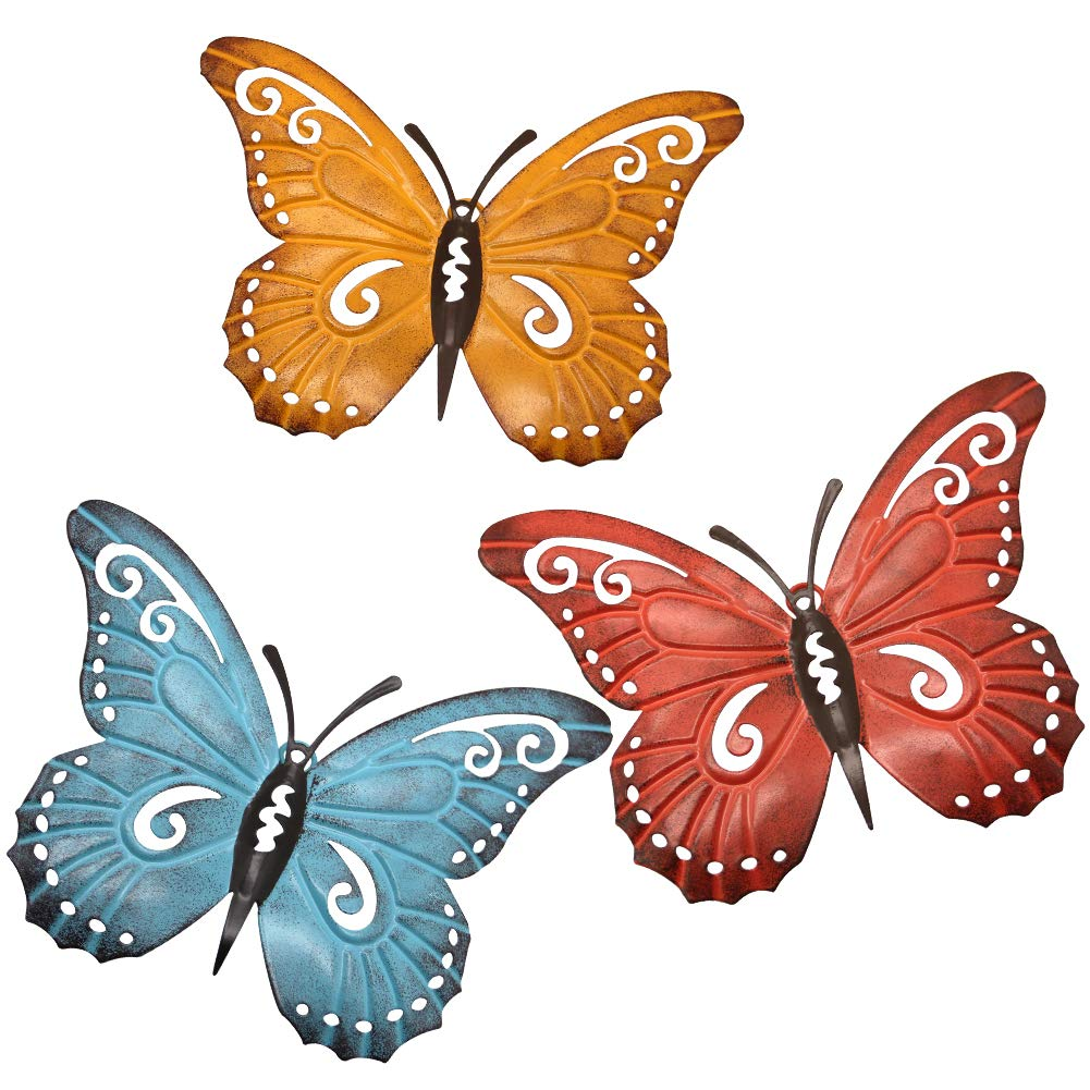 Juegoal Metal Butterfly Wall Art, Inspirational Wall Decor Sculpture Hanging for Indoor and Outdoor, 3 Pack