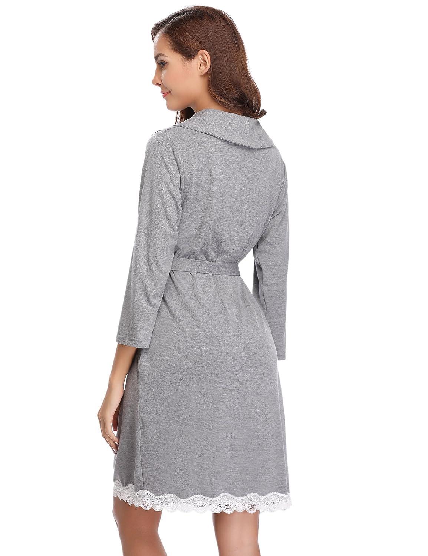 1091d1edae Aibrou Unisex Waffle Dressing Gown Cotton Lightweight Bath Robe for Spa  Hotel Sleepwear