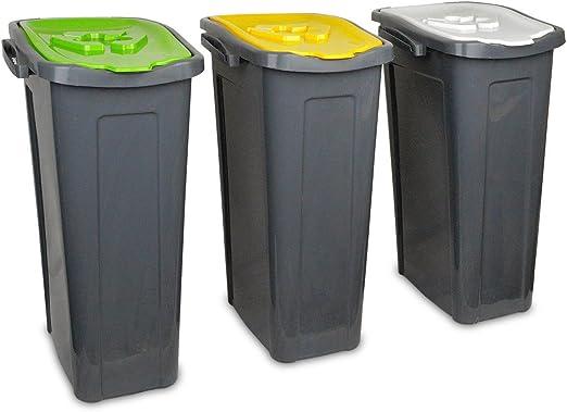 345146 Set de 3 cubos de reciclaje -cartón, plástico y vidrio- de ...
