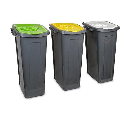 345146 Set de 3 cubos de reciclaje -cartón, plástico y vidrio- de 35
