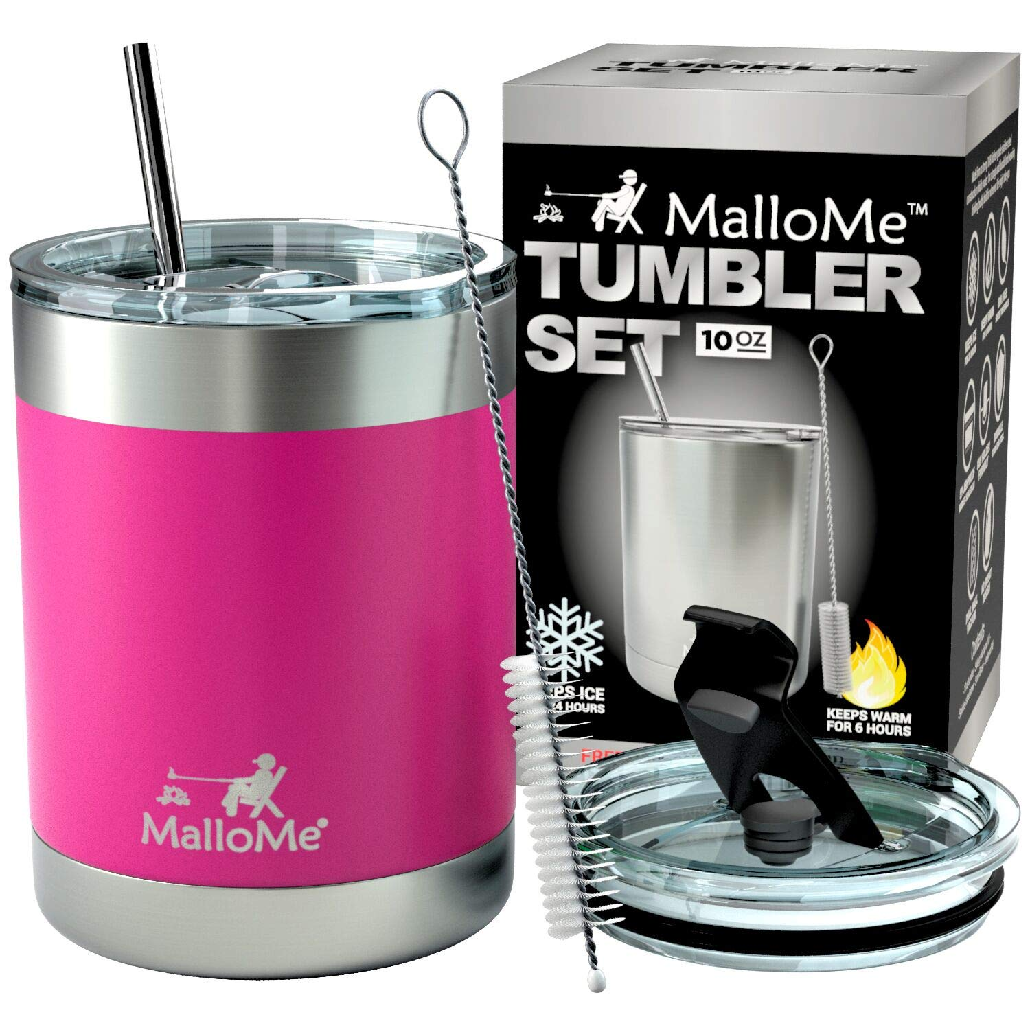 MalloMe Stainless Steel Vacuum Insulated 5-Piece Tumbler Set, Hot Pink 10 oz