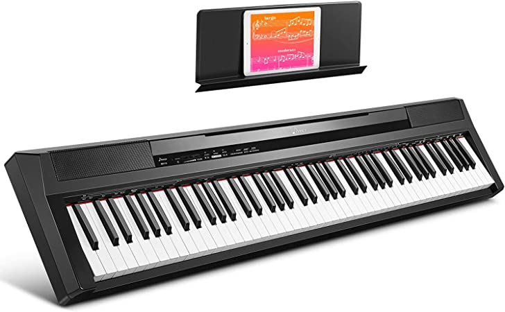 Donner Piano Digital Eléctrico con Teclado de 88 teclas Semi contrapesadas de tamaño completo, Piano Portátil para principiantes con pedal, DEP-10