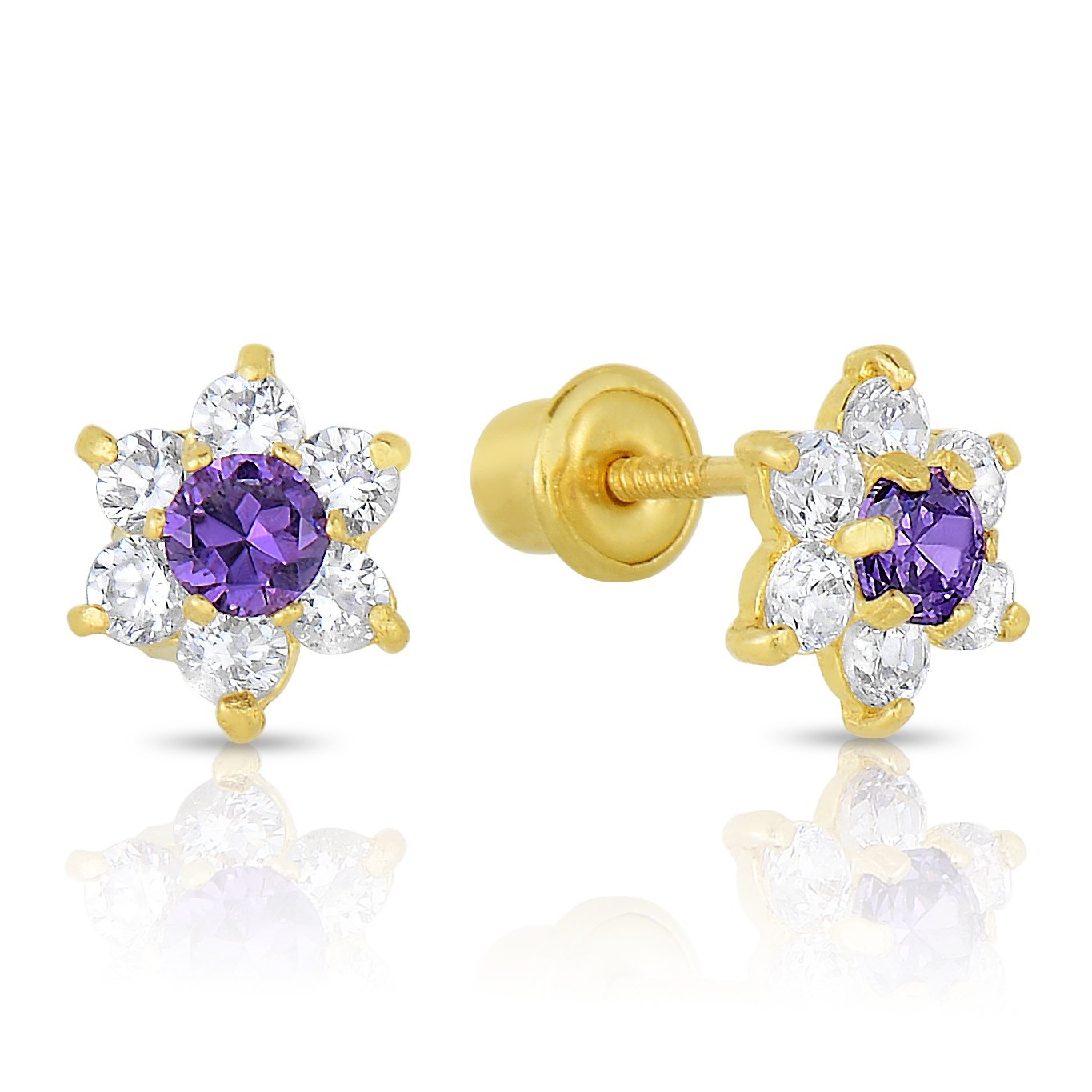 Girls 14k Gold Small Flower Stud Earrings with Cubic Zirconia and Screw Backings (February)