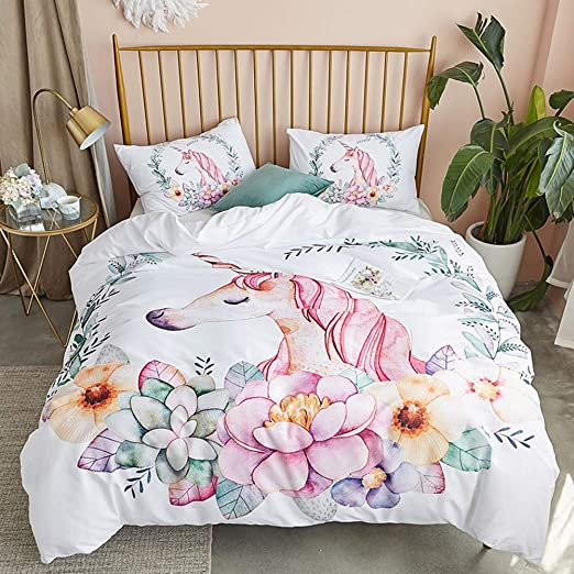 Argstar 3 Pcs Pink Unicorn Duvet Cover Set Queen Cute Sprinkle Sky Bedding Set 1 Duvet Cover and 2 Pillow Shams Lightweight Microfiber Comforter Cover for Girls Boys Kids