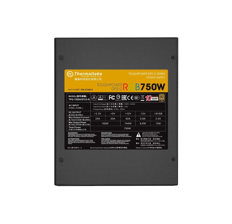 Thermaltake Toughpower DPS G RGB 750W Digital 80+ Gold Smart Zero 256-Color RGB Fan Fully Modular ATX 12V 2.31/EPS 12V 2.92 Power Supply 10 YR Warranty PS-TPG-0750DPCGUS-R by Thermaltake (Image #6)