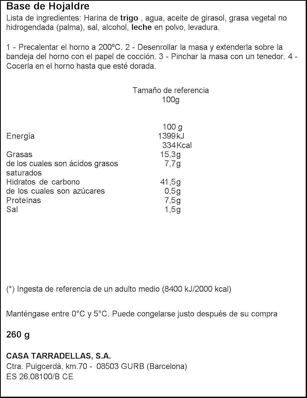Casa Tarradellas - Base De Hojaldre Fresca, 260 g: Amazon.es: Alimentación y bebidas