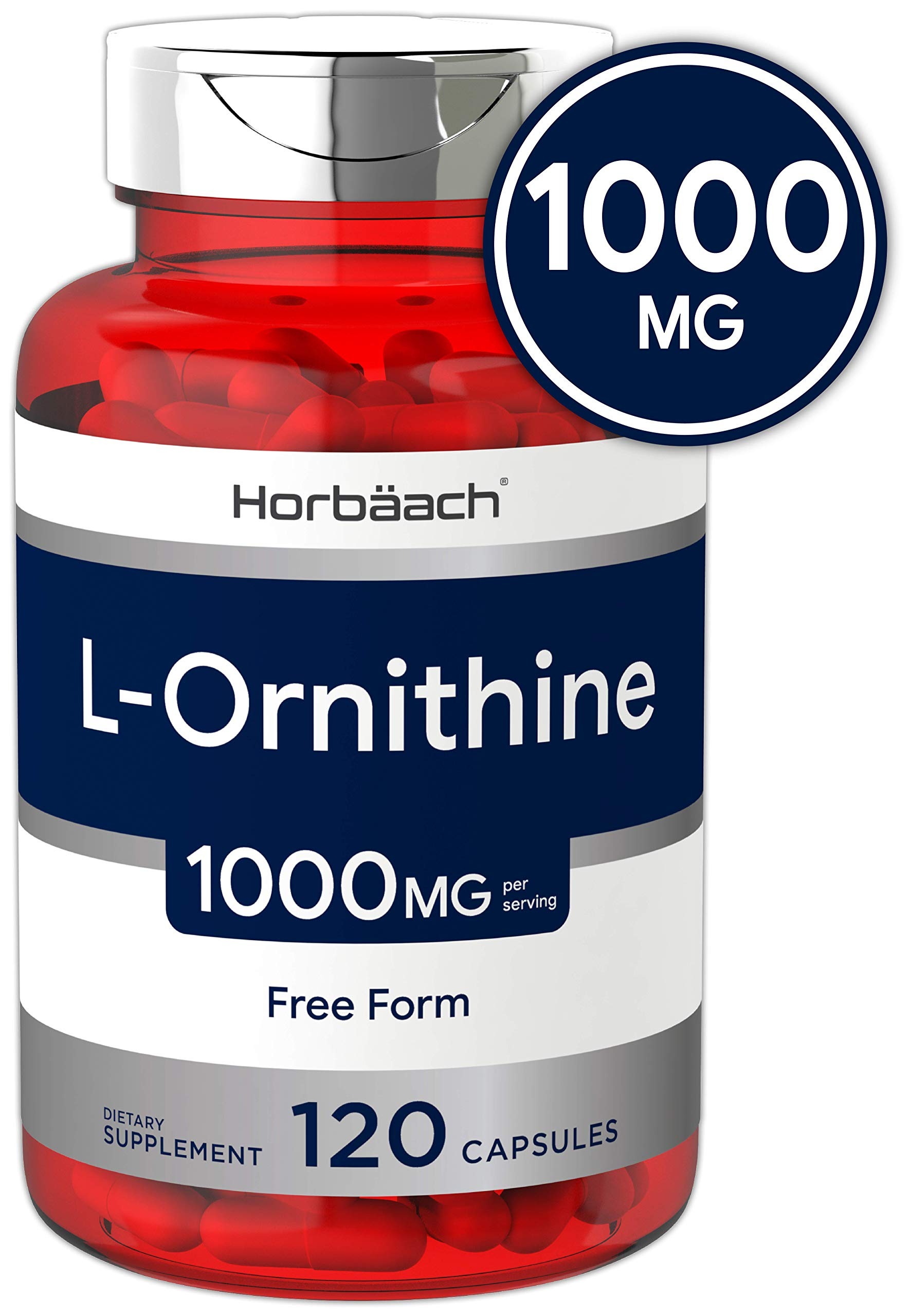 Horbaach L Ornithine 1000 mg | 120 Capsules | Non-GMO, Gluten Free | Free Form L-Ornithine by Horbäach