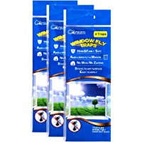 Garsum Fly Clear Window Fly Traps Bug Fly Killer Window Decal Non-Toxic,4 Piece per Pack