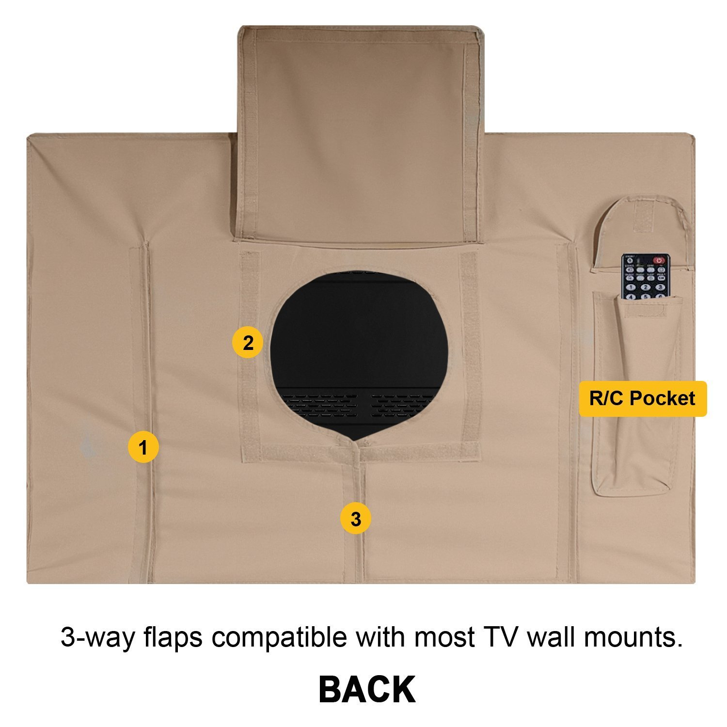 Outdoor TV Cover, Brown Universal Weatherproof Protector for 50'' - 52'' TV - Fits Most Mounts & Brackets by KHOMO GEAR (Image #5)