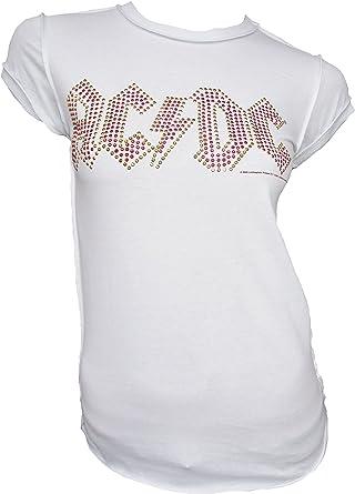 Amplified - Camiseta para mujer, diseño de logotipo oficial de AC/DC con brillantes: Amazon.es: Ropa y accesorios