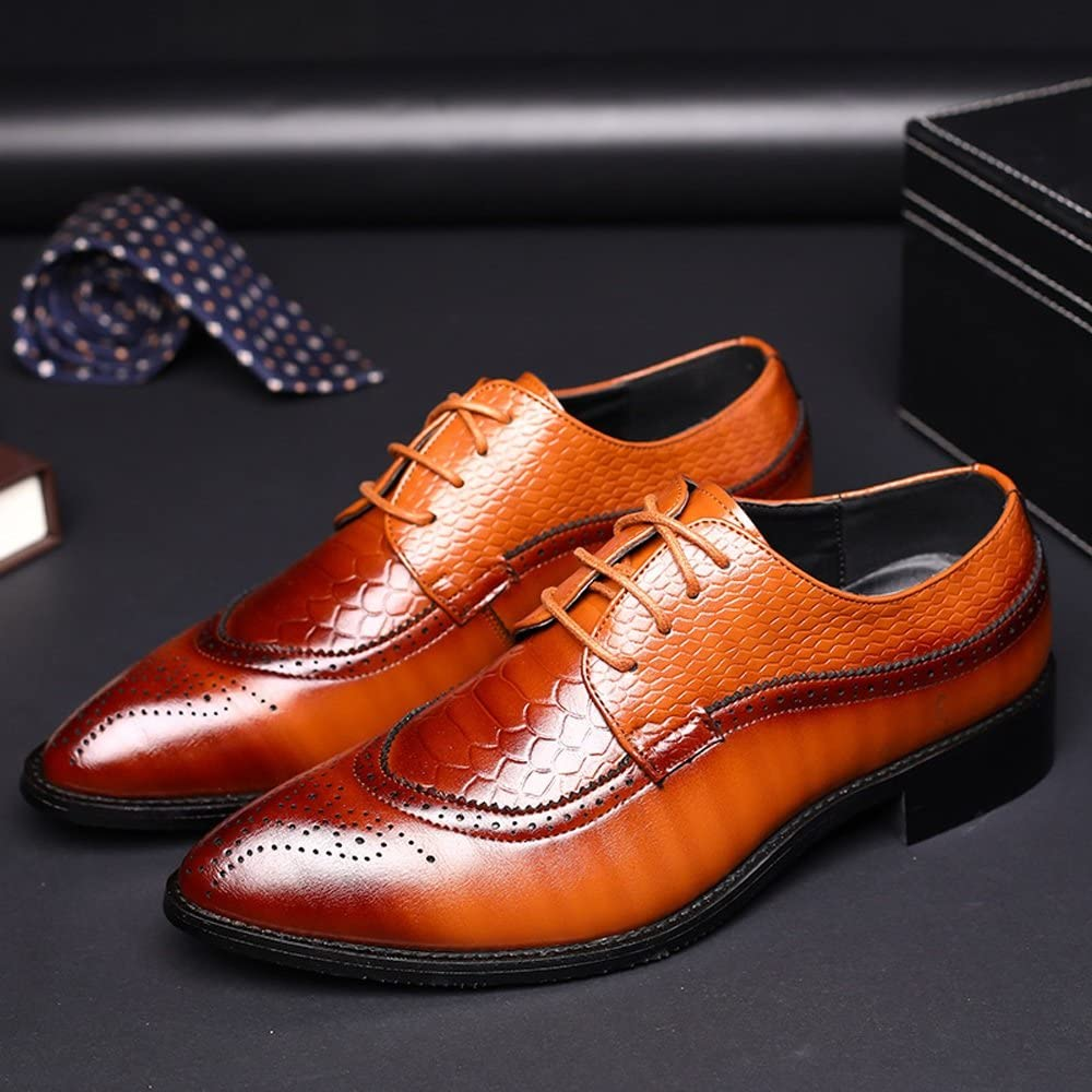 MUMUWU Mens Large Size Loafers PU Leather Vamp Lace Up Business Oxfords Stud Decor Shoes