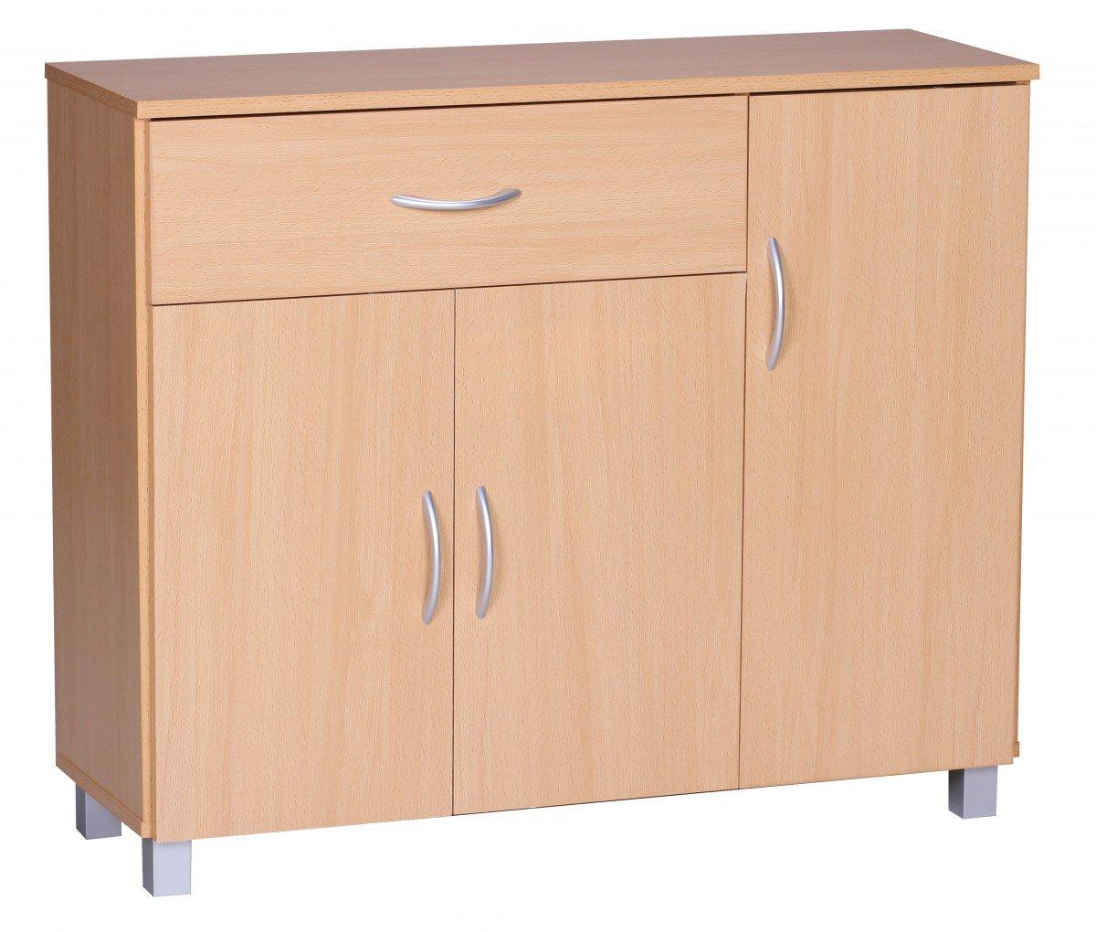 KadimaDesign Sideboard Beech 90 x 75 cm with 3 doors & 1 drawer KADIMA DESIGN