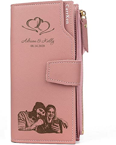 PERSONALISED Large Leather PurseCustomised Women/'s WalletMothers Day