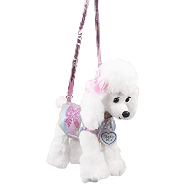 Poochie And Co Girls Plush Handbag (White Poodle with Pastel Rainbow Disco Dots and Bow Applique): Toys & Games
