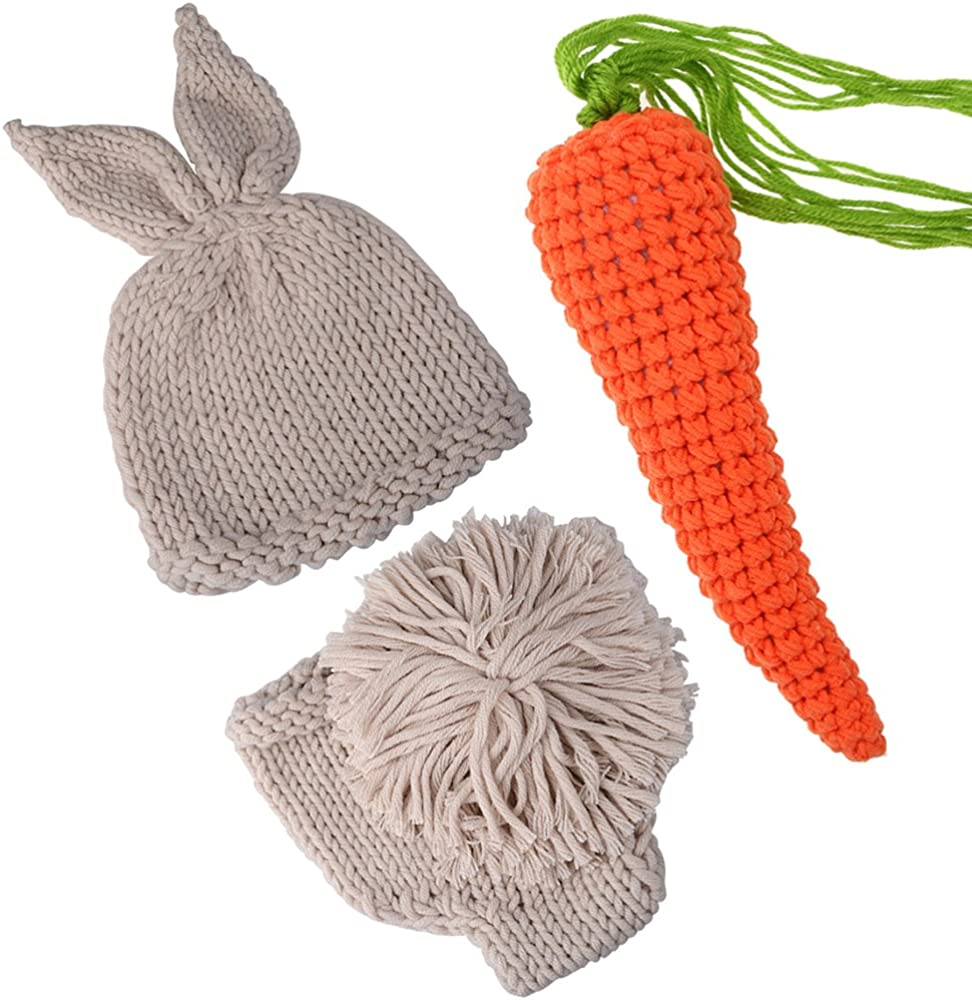 786acfdad65c ... Girl Knit Rabbit Photo Outfits. ISOCUTE Newborn Photography Props  Rabbit Costume, Baby Photo Shoot Outfits (hat+Shorts+