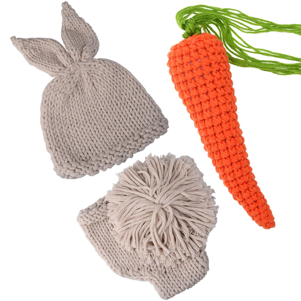 ISOCUTE Newborn Photography Props Rabbit Costume, Baby Photo Shoot Outfits (hat+Shorts+Carrot)