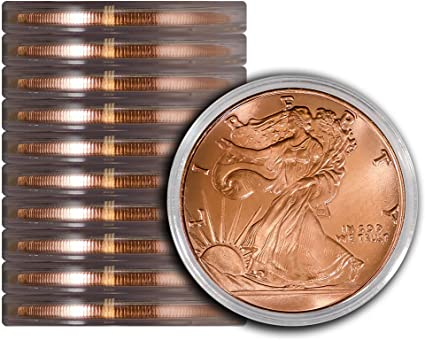 FOUR X One Ounce Walking Liberty Style .999 Fine Copper Rounds