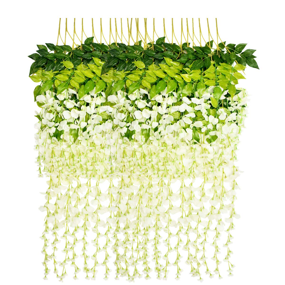 Marcherry Artificial Flowers 12 Pack 3.6 Feet Rattan Strip Artificial Fake Wisteria Vine Home Kids Room Garden Hotel Office Wedding Decor Wall Crafts Art Party Decoration (White)