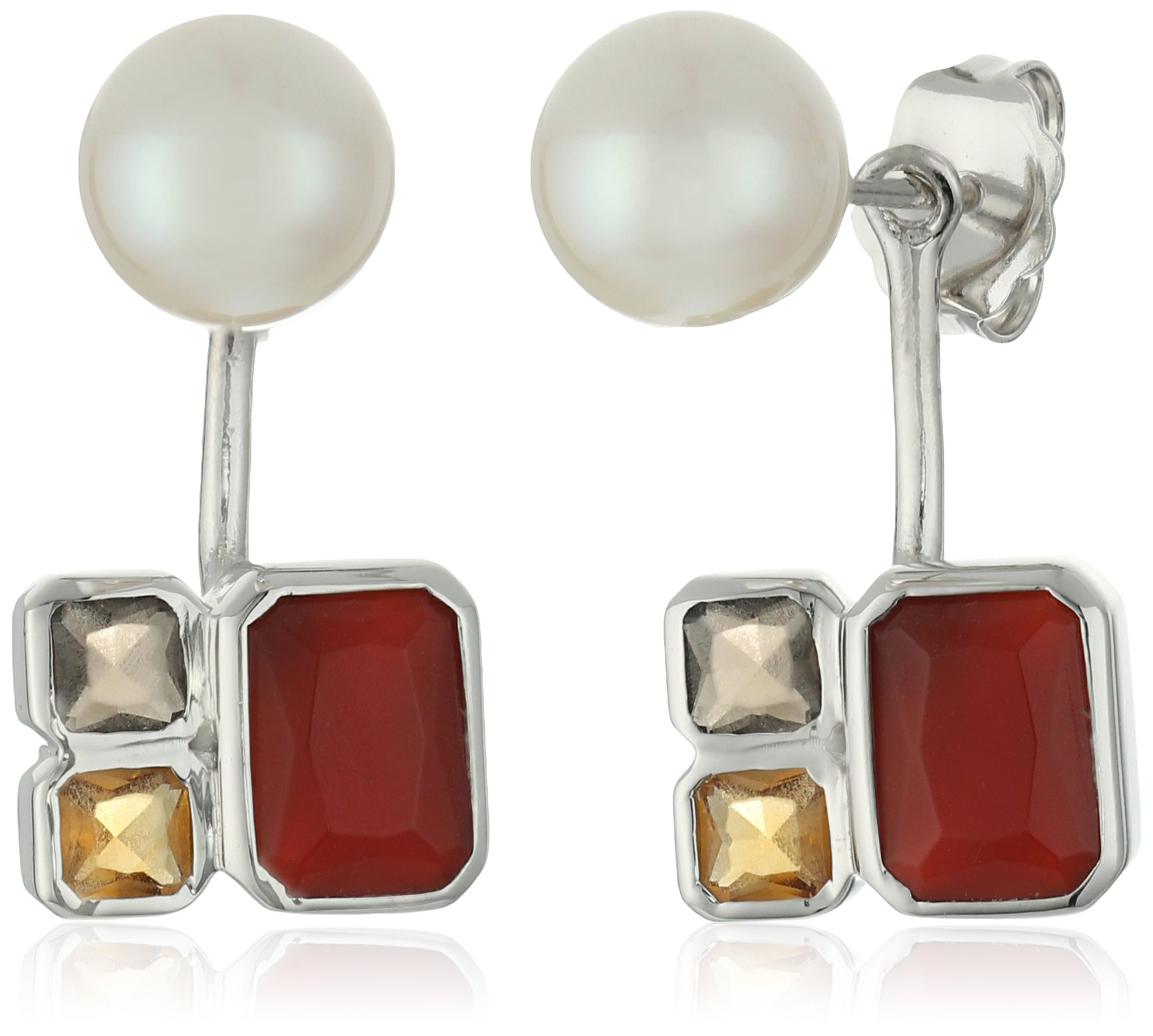 TARA Pearls 7X7.5mm Akoya Pearls, Smoky Quartz, Citrine and Red Agate Jacket Sterling Silver Earring Jackets