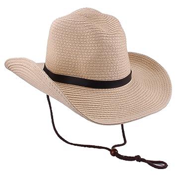 33edbb27671 YOPINDO Men s Cowboy Hat Straw Sunhat Wide Brim Western Cowgirl Beach Sun  Caps (9214 Begie