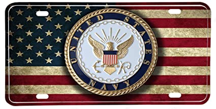 277459518bdf Image Unavailable. Image not available for. Color  US Navy Emblem  Distressed Colors American Flag Aluminum License Plate