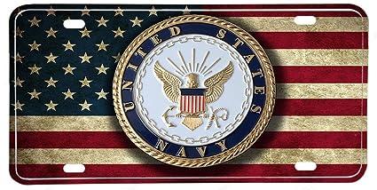 US Navy Emblem Distressed Colors American Flag Aluminum License Plate