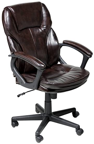 Lovely Serta Faux Leather Executive Chair, Roasted Chestnut