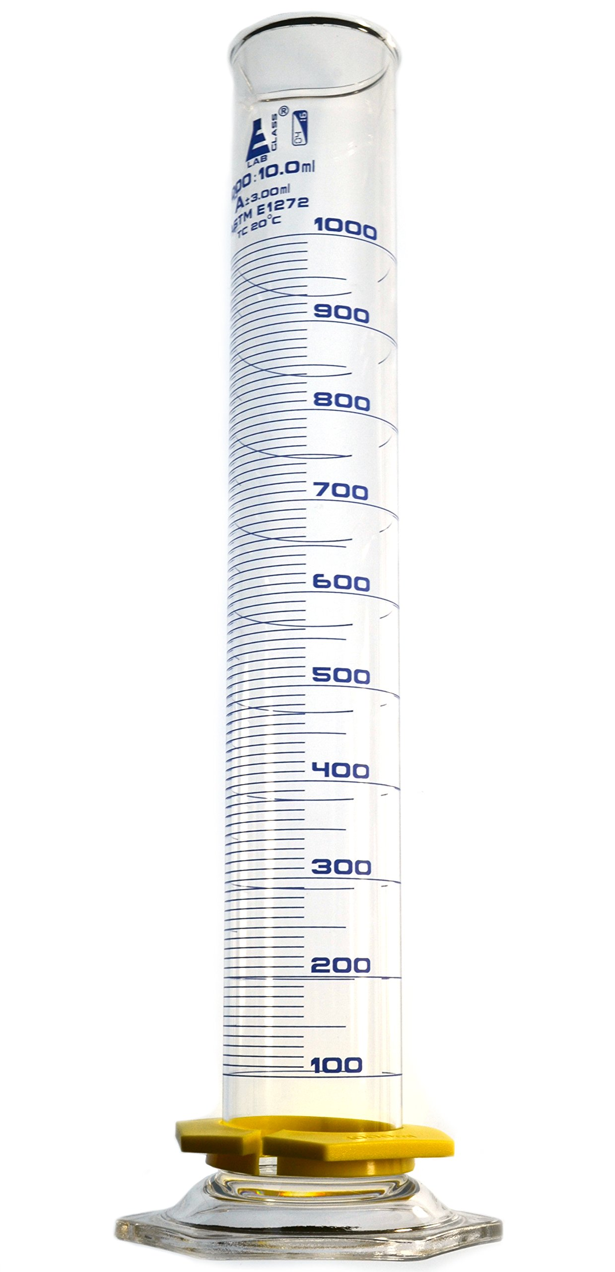 Measuring Cylinder, 1000ml - Class A, ASTM - Blue, 10ml Graduations - Borosilicate Glass - Eisco Labs