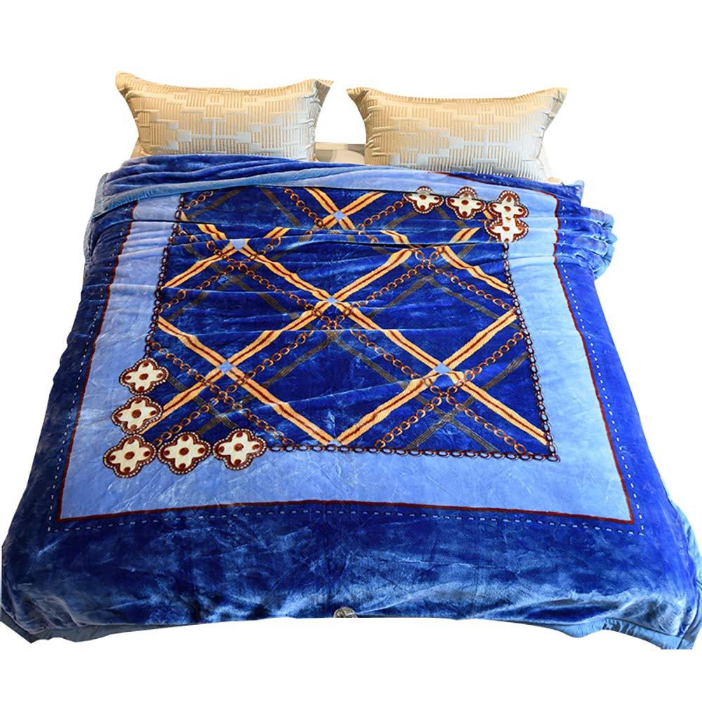 HSBAIS 大人の毛布 小さい毛布キングサイズ暖かい毛布フラットパネル冬厚いウォームウォッシャブルベッドブランケットクリスマスギフト暖かいシート,blue_200*230cm B07K76PVWR Blue 200*230cm
