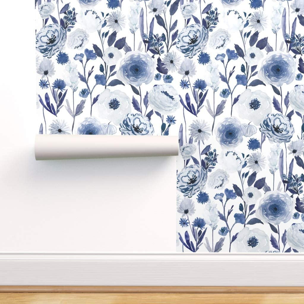 Spoonflower Peel And Stick Removable Wallpaper Blue Floral Print