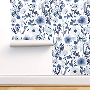 Spoonflower Pre Pasted Removable Wallpaper Blue Floral Print Water Activated Wallpaper 12in X 24in Test Swatch Amazon Com