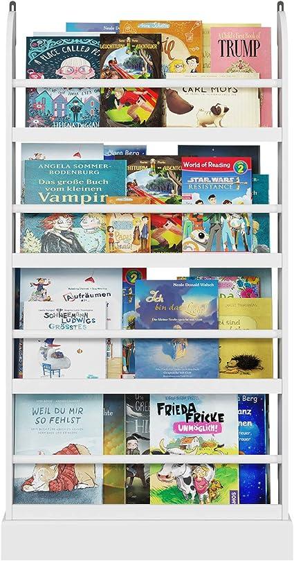 Homfa Librería Infantil para Niños Estantería de Pared Estantería Infantil para Libros Revistas con 4 Estantes Blanco 58x12x110cm