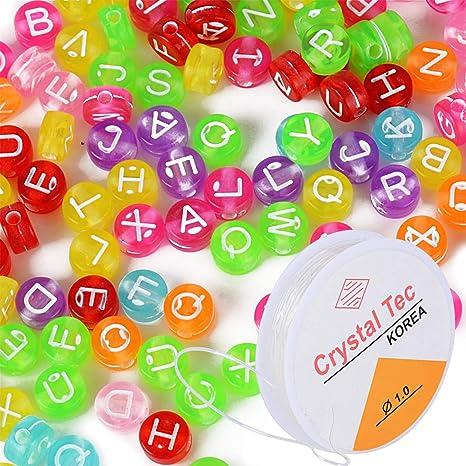 510c3cf963ee 1000pcs Abalorios Alfabeto Letras Cuentas Granos Perlas Acrílico Plastico  A-Z Colores + 5m Cordón Elástico para