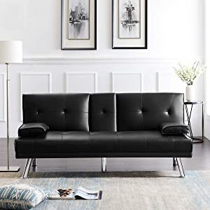 Faux Leather Modern Convertible Folding Futon Sofa Bed,Twin Futon Couch Sleeper Sofa W/Removable Armrest 2 Cup Holders and Metal Legs Up & Down Recliner Couch for Living Room,Black