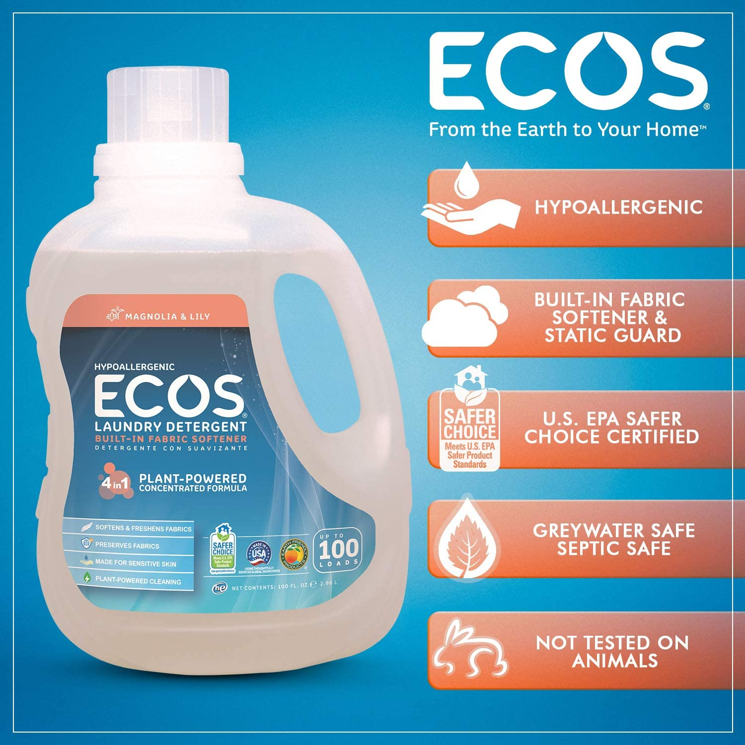 Earth Friendly - Detergente para ropa hipoalergénico ECOS con ...