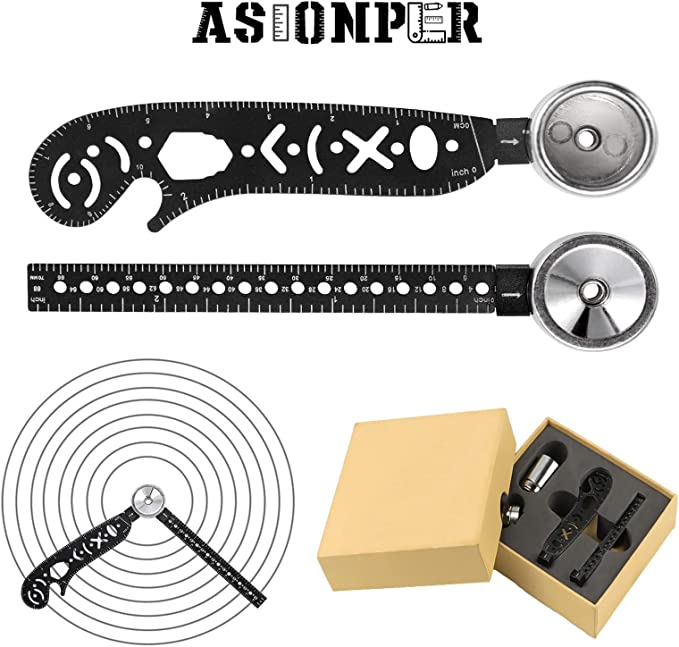 Wrench Rounder//Compass All in One Multi-Function Drawing Tool Versatile Utensil,Drawing Tools Incluing Pen-Stand Scale Bottle Opener for Notepad Designers Artists Architects Student