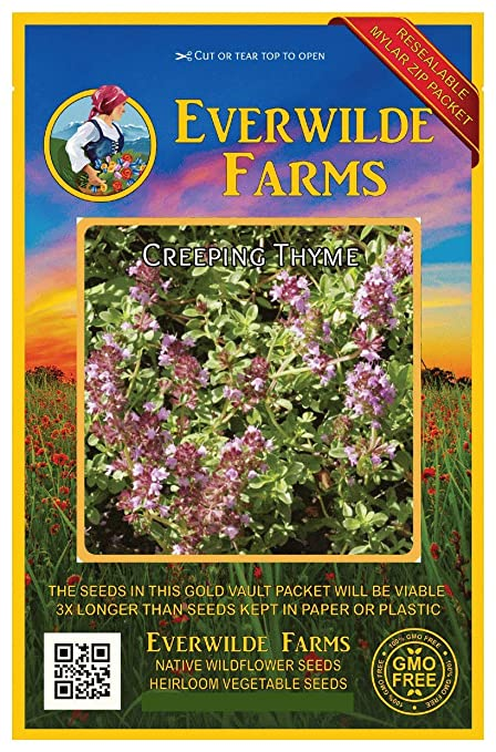 1//4 Lb Creeping Thyme Wildflower Seeds Everwilde Farms Mylar Seed Packet