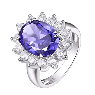 Fine Jewelry Luxury 925 Sterling Silver Size 7 Blue Tanzanite 3 Stone Halo Paved Ring