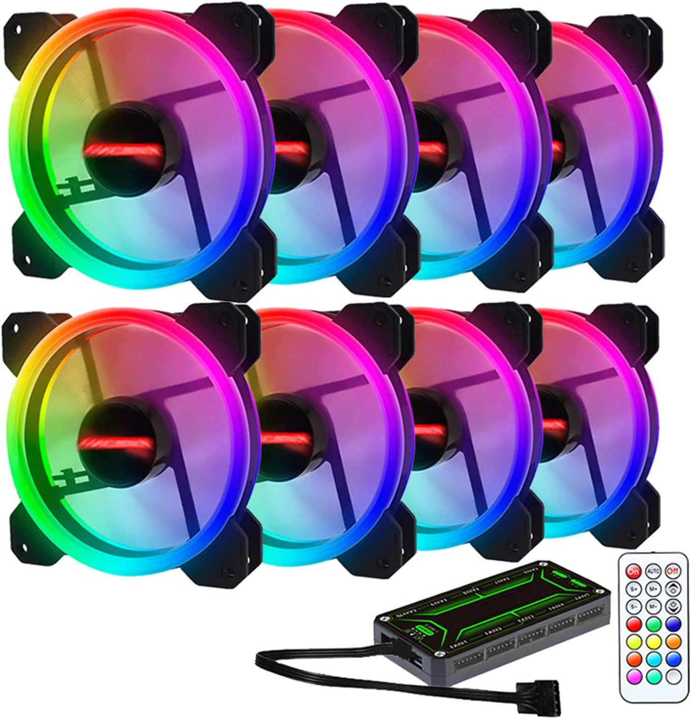 1 Controller. 8 Fans ZXLLAFT RGB 120Mm Dual Halo PC Cooling Fan